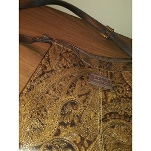 Vintage Relic Paisley Embossed Tooled Leather Bag
